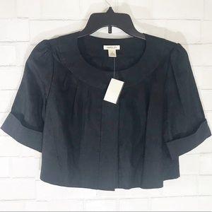 NWT Harold's Black Cropped Linen Shrug Jacket 6